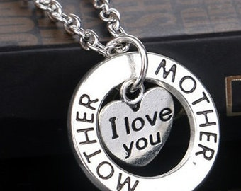 "Silver Dual Pendant Mother ""I Love You"" Necklace NK4072i"