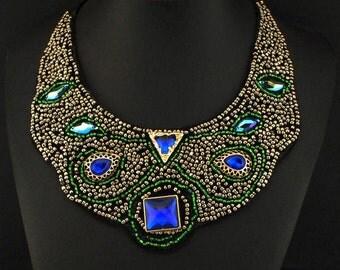Gorgeous Beaded & Crystal Bib Necklace NK7010