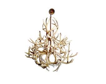 Massive 40 Vintage Genuine Deer Antler Chandelier Rustic Country Shabby Chic Bone Dining Room