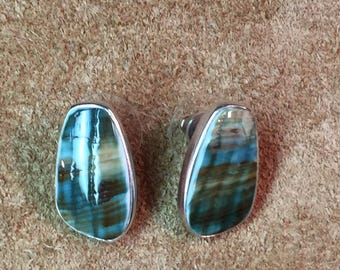 Sterling and shell earrings stamped PB 925