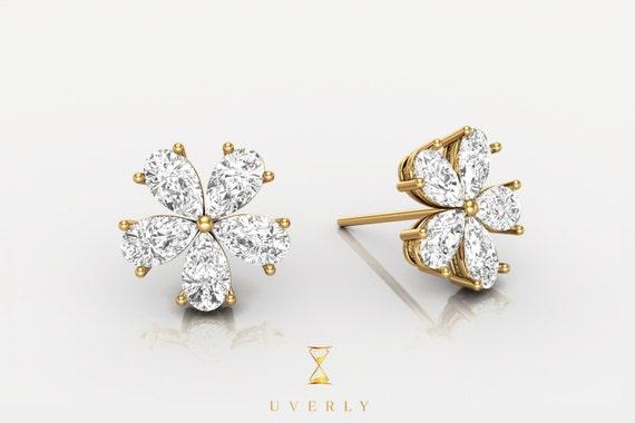18k Solid Yellow White Rose Gold Womens Flower Diamond Sparkling Uverly Earrings