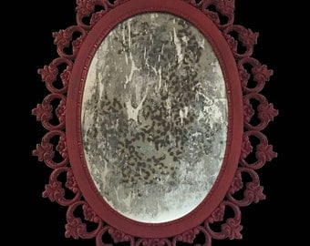 Leopard Print - Hand Distressed -  Vintage Mirror - Syroco Mirror - Reverse Glass Painted - Wild in 1959