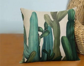 With Cactus Linen Pillow Cover / cushion shell / decorative pillow