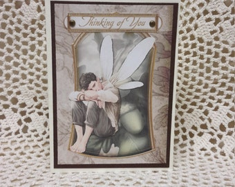 Masculine Greeting Card,  Male Fairy Greeting Card,  Masculine Thinking of You Card