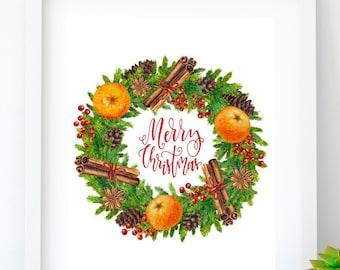 Merry Christmas Holiday art decor Christmas printable decor Christmas quote Room decor Modern christmas decor