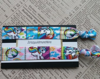Unicorn Elastic Hair Ties, rainbow hair ties, cute hair, party favors, girls hair ties