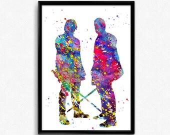 Star Wars Inspired, Anakin Skywalker and Obi Wan Kenobi, Watercolor Wall Hanging, Poster, Room Decor, gift, Print, Wall Art (444)