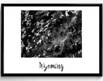 Map of Wyoming, United States of America, Black and White Map, Travel, Watercolor, Room Decor, Poster, gift, Print, Wall Art (783)