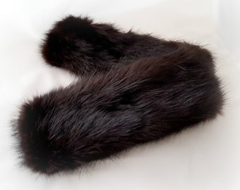 Black mink fur cuffs, real fur cuffs