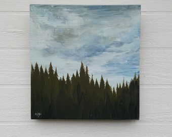 Foothill Sky Original Acrylic Painting on Found Wood Panel