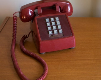 Vintage Red Push Button Telephone AT&T - 1980s Western Electric Phone Classic Vintage Landline