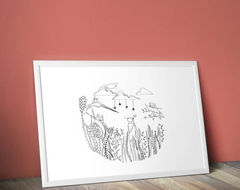 Figure A3 - PRINT - Illustration N * 4 the Heron & the frog