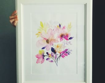 """WATERCOLOR Flowers """"Pink Wild Roses"""" Original Watercolor a floral painting w/ Purple, Pink Roses surrounded by Yellow Leaves size: 30x40 cm"""