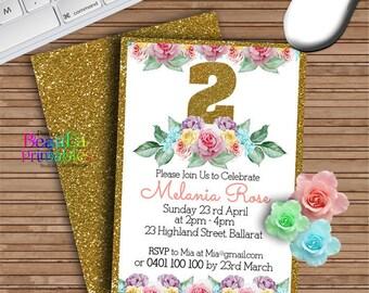 Birthday Party Invitations, Glitter Roses Invitation, Invitations for girls,  Printable invitation, Aged Birthday Invites - Custom Download
