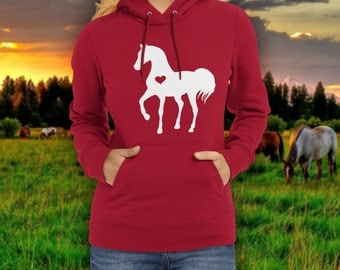 Heart horse hoodie / valentine horse / equestrian clothing / equestrian gifts / horse gifts  / horse clothing / horse birthday party sweater