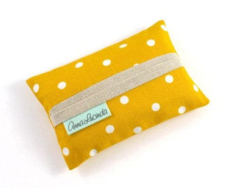 Yellow tissue holder Travel tissue cover Yellow polka dot tissue case Handmade tissue pouch Gift for her