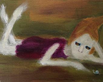 An Ultra Lazy Day: Original Acrylic Painting by Kyoko Watanabe