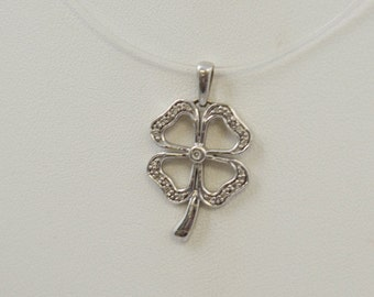 10K White Gold And Diamond Lucky Four Leaf Clover Charm/Pendant