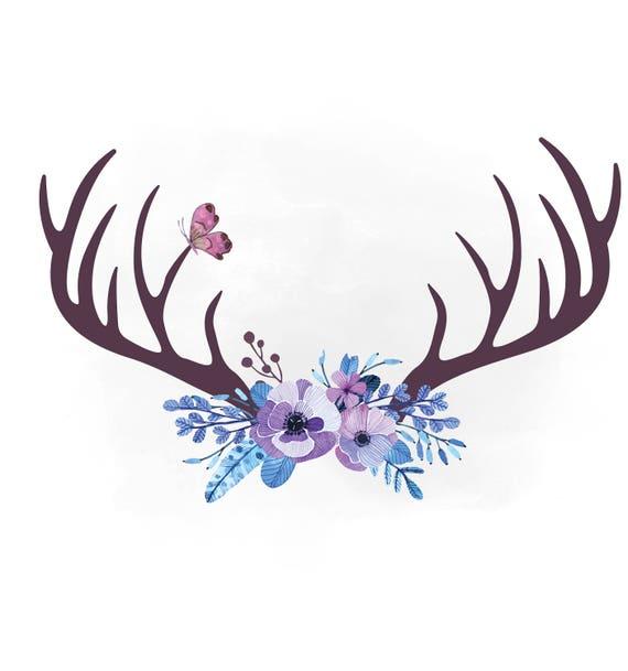 Floral Antlers svg clipart, Antler hornes SVG, Boho floral ...