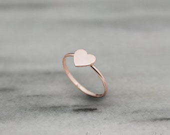 Rose Gold Heart Ring, Tiny Heart Ring, 14k Gold Ring, Rose Gold, Love Ring, Dainty Ring, Minimalist Ring, Gift For Her, Stacking Rings
