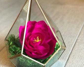 Gold Geo Terrarium with Handmade Italian Crepe Paper Flower