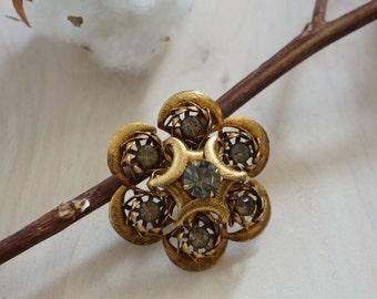 vintage Smoky Gray brooch | vintage floral brooch | vintage floral pin