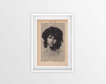 Jim Morrison printed on an old page, vintage print of Jim Morrison a page from 1877, Gothic font on yellow page, James Douglas Morrison