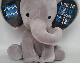 FREE SHIPPING, Stuffed Elephant Baby Stats, Birth Announcement, Stuffed Animal, Personalized