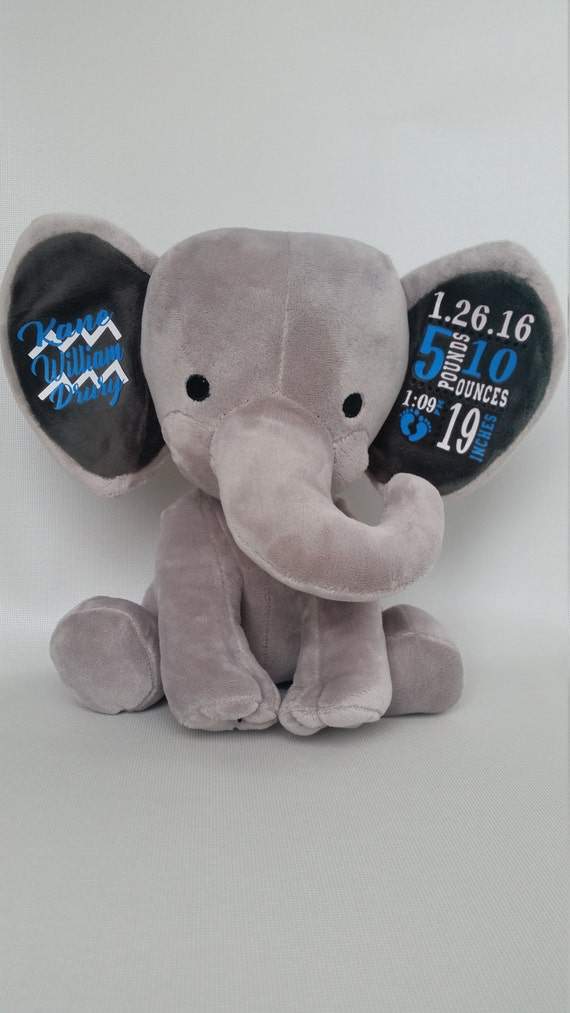 Free Shipping Stuffed Elephant Baby Stats Birth