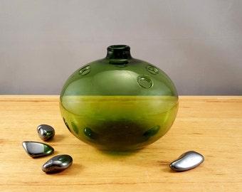"""Vintage Holmegaard """"Hule"""" green glass vase, design by Michael Bang"""