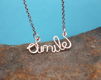 Smile Necklace, Handmade in Solid Copper
