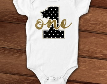 Number One First Birthday baby bodysuit, layette, black and gold, glitter, sparkle, boy, girl, birthday photo shoot, smash cake outfit