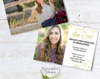Senior Announcement Card Template, Graduation Card Template, Senior Announcement Template, Senior Graduation Template, Gold,Instant Download