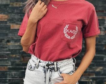 Kappa Alpha Theta Comfort Colors Laurel ΚΑΘ Unisex Pocket T-shirt