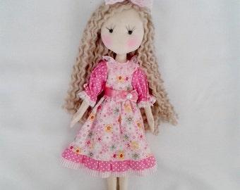 Cloth Doll 15''  fabric Doll Textile Doll