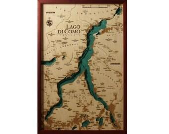 Lake Como - 100% Made in italy - Wood Charts Map Laser cut - Quadro Mappa in legno - Artigianato Italiano Dipinto a mano