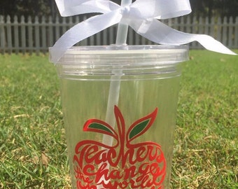 Personalized 16oz double wall tumbler with lid and straw - teacher gift