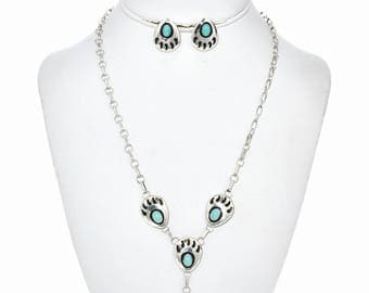 Turquoise Bear Paw Y Necklace Set Navajo Link Choker Post Earrings