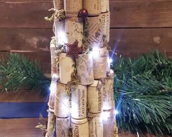 Christmas tree, Whimsical LED cork Tree, Cork Tree, Wine Lover gift, Wine Christmas gift, Wine gifts, wine tree, farmhouse tree,rustic tree