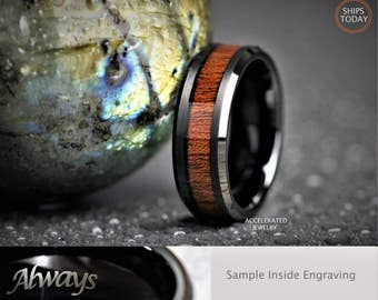 8MM Mens Black Tungsten And Genuine Wood Inlay For Weddings, Engagement, Anniversary, Custom Laser Engraved Inside
