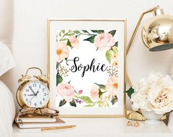 Floral name print, custom name, nursery name decor, baby girl name, printable nursery, nursery name art, baby name sign, floral custom name