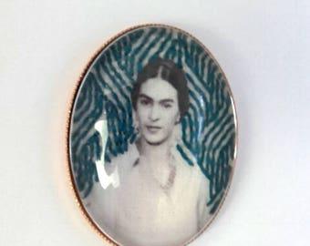 Frida Kahlo background sashiko hand embroidered brooch