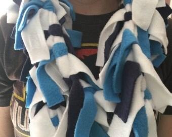 Blue White and Navy Fleece Spirit Scarf