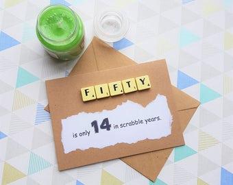 50th birthday, 50th birthday card, Anniversary card, 50 card, Card for her, Card for him, Dad 50, Age card, Age 50, 50 birthday card,