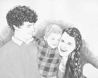 Custom Family Portrait, Fathers Day Gift, Family Illustration, Personalized Family Portrait Drawing, Couple Portrait.