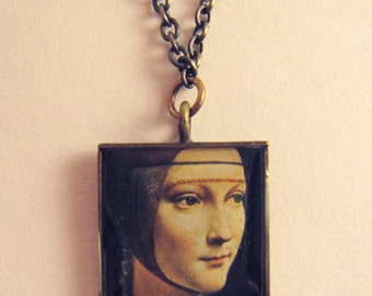 Da Vinci, Face Pendant, Renaissance Art, Necklace