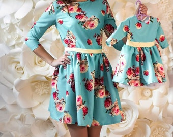 Mother daughter matching dresses with floral print, Different colors Mommy and me outfit Mini dress for mother and daughter Family look