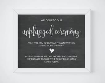 Chalkboard Unplugged Wedding Sign, Chalkboard Unplugged Ceremony Sign, Chalkboard Unplugged Sign, Wedding Decoration Sign, DIGITAL DOWNLOAD