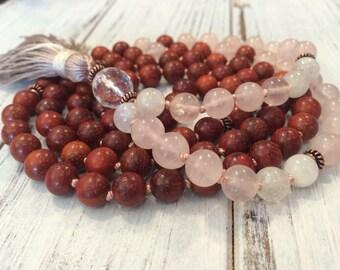 108 mala beads, Meditation Beads, Buddhist Prayer Beads, Moonstone+Rose Quartz+Redwood Mala, New Beginnings, Loving Energy+Support, Balance