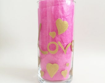 Love Decor - Heart Decor - Mothers Day Gift - Love Home Decor - Hand Painted Vase - Gold Vase - Gift for Her - Table Decor - Glass Vase